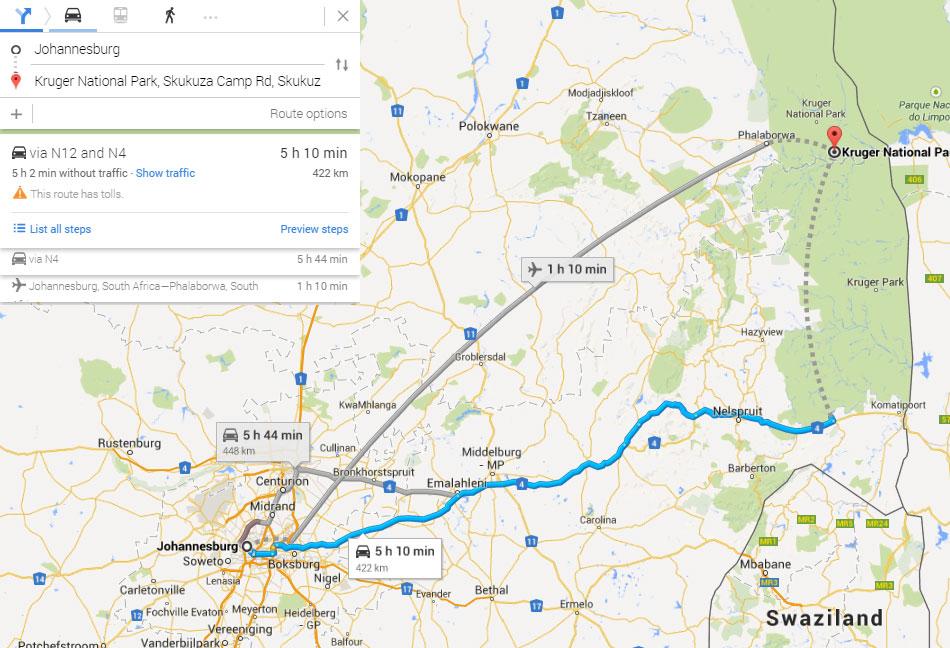 johannesburg-kruger-park-map